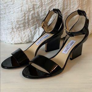 Jimmy Choo Edina 37 Black Patent Sandal